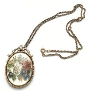 Lucite Painted Flower Transfer Pendant Necklace